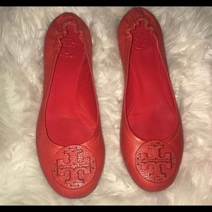 Tory Burch Red Orange Reva Flats, Size 9.5